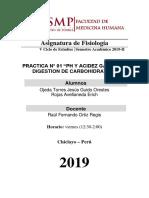 Práctica 1 - Ph y Acidez Gástrica, Digestión de Los Carbohidratos