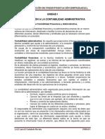 UNIDAD I - Introducción a la Contabilidad Administrativa