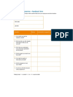 Induction Programme Feedback Form