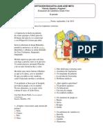 Evaluación de castellano 4° III periodo
