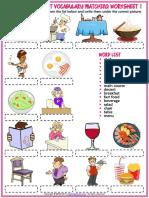 Restaurant Vocabulary Esl Matching Exercise Worksheets for Kids