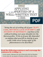 Applying Properties of a Well-written Text