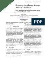 Definición de Sistema, Ingredientes Para El Concepto, Sistemas Estáticos y Dinámicos