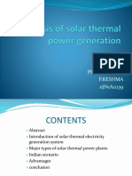 Analysis of Solar Thermal Power Generation