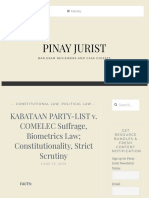 KABATAAN PARTY-LIST v. COMELEC Suffrage, Biometrics Law; Constitutionality, Strict Scrutiny – PINAY