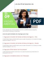 Vagas de Emprego Do Dia 09 de Setembro de 2019 (142 VAGAS) - MMO
