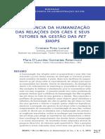 A influência da humanização das relaçõs dos cães e seus tutores na gestão das pet shops