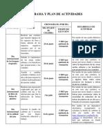 Cronograma y Plan de Trabajo Fechas Especiales