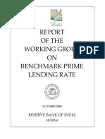 Benchmark Prime Lending Rate, RBI