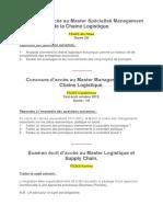 Epreuves Master Management de La Chaine Logistique FSJES
