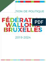 Déclaration de politique pour la Fédération Wallonie Bruxelles