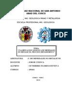 Clasificacion Genetica No Metalicos- Proceso Metamorfico