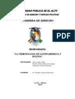Criminologia en Latinoamerica y Bolivia