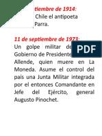 Efemerides Septiembre Chile 2019