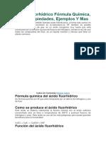 Ácido Fluorhídrico Fórmula Química