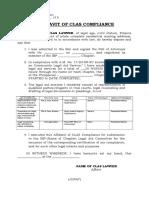 Clas Form No. 002 - Affidavit of Clas Compliance