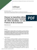 Penser La Transition Éthique de l'Urbanisme Pour l'Aménagement de Villes Durables. Le Cas de La France Et de La Suisse