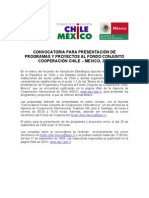 Convocatoria Chile Mexico 2009
