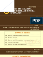 Business Organizations, Stakeholders and Financial Information