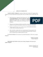 Case 2-Affidavit of Desistance