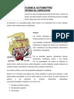 MECÁNICA AUTOMOTRIZ, SISTEMA DE LUBRICACIÓN
