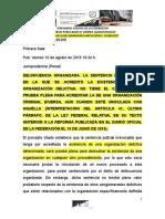 SENTENCIA DE DELICUENCIA ORGANIZADA NO TIENE EL CARÀCTER DE PRUEBA PLENA 16-AGOSTO-2019