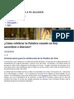 ¿Cómo Celebrar La Palabra Cuando No Hay Sacerdote o Diácono_ _ Canción Nueva