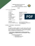 Silabo Estadistica Aplicada 2019 - II(Mañana)