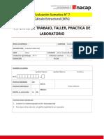 Evaluación sumativa N° 7 Cálculo Estructural TTES02.890D 2019
