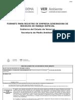 Formato Para Registro de Generardor de Residuos de Manejo Especial
