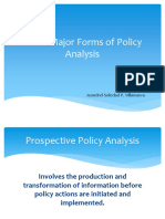 Three Major Forms of Policy Analysis