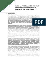 Propuesta Para La Formulación Del Plan de Desarrollo Local Concertado de La Provincia de Ica 2020