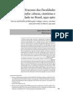 Sucesso e Fracasso Das Faculdades de Filosofia_ Ciência, Cientistas e Universidade No Brasil, 1930-1960