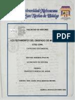 Catalogo Documental Los Testamentos Del Obispado de Michoacan 1775-1779