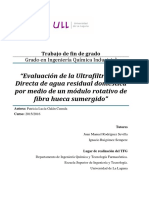 Evaluacion de la Ultrafiltracion Directa de agua residual domestica por medio de un modulo rotativo de fibra hueca sumergido