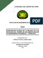 INTERVENCIÓN BLANDA EN LA MEJORA DE LOS SERVICIOS DEL CENTRO DE DOCUMENTACIÓN EN LA UNIVERSIDAD CONTINENTAL – HUANCAYO.