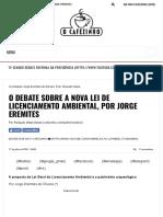 OLIVEIRA Jorge O Debate Sobre a Nova Lei de Licenciamento Ambiental
