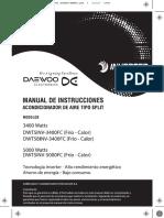 Manual Acondicionadores de Aire Daewoo Inverter Modelo Dwt5inv
