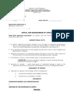 Memorandum of Appeal Comm. Proper -NLRC