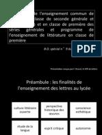 Programme de Francais de Seconde