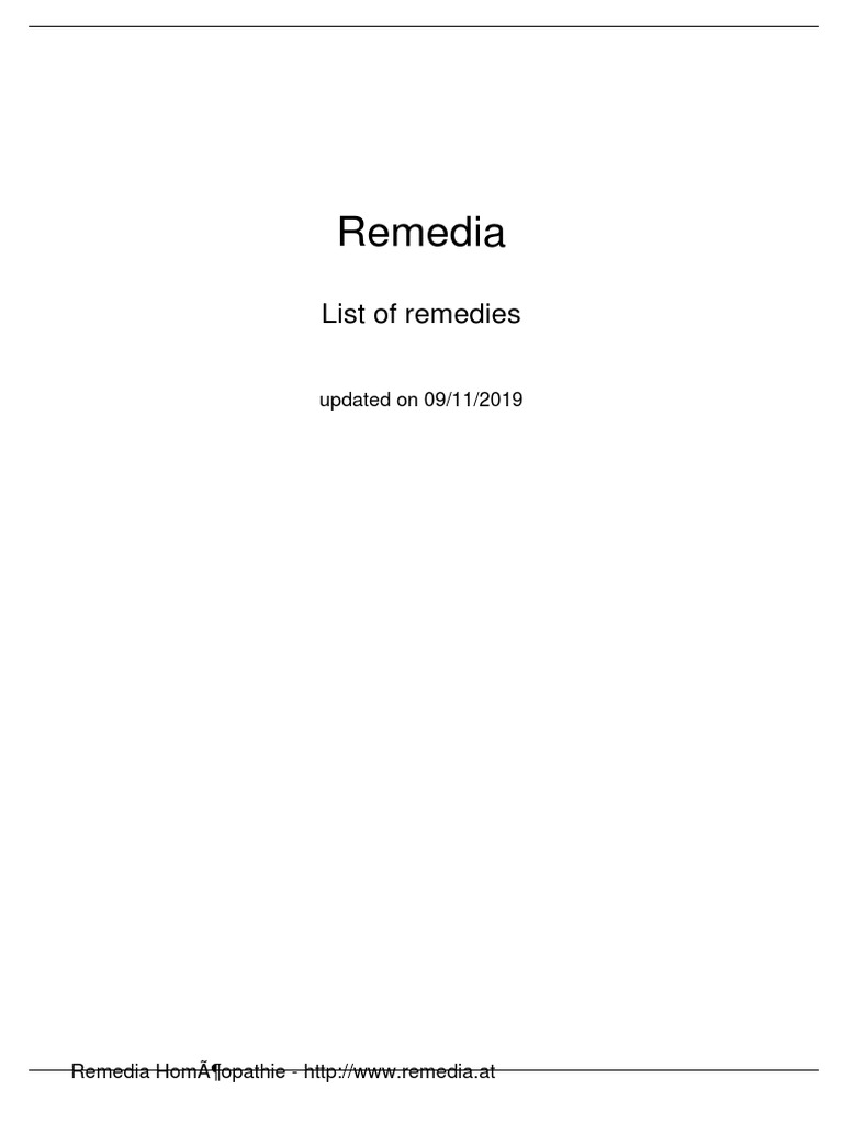 Remedia Homeopathy Pdf Plants Horticulture And Gardening