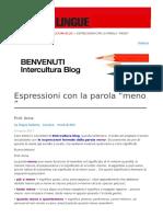"Espressioni Con La Parola ""Meno"""