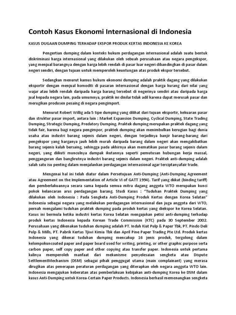 Contoh Kasus Ekonomi Internasional Di Indonesia