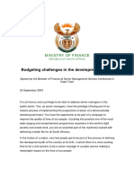 Budgeting Challenges in the Developmental State