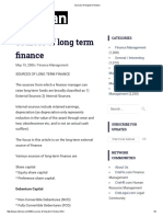 Sources of Long Term Finance