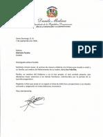 Carta de condolencias del presidente Danilo Medina por fallecimiento de Eva Febrillet