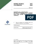 NTC 2895 Práctica Recomendada para el Acabado de Placas y Sobrepisos de Concreto Aptos para Recibir in situ un piso terminado .pdf