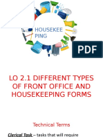 LO 2.1 Front Office Forms and Other Housekeeping Forms