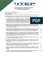 Evaluación Diplomado Itep Aqp Seguridad y Salud en El Trabajo