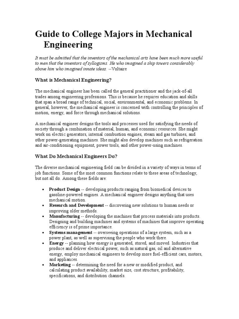 Career Goals Mechanical Engineering Academic Degree
